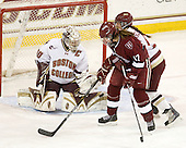 Molly Schaus (BC - 30), Kaitlin Spurling (Harvard - 17), Alison Szlosek (BC - 8) - The Boston College Eagles defeated the visiting Harvard University Crimson 6-2 on Sunday, December 5, 2010, at Conte Forum in Chestnut Hill, Massachusetts.