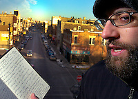 "2/13/04-Charles Osgood-Kevin Coval makes his living as a poet. He teaches a class at Frances Parker School, has a NY agent and is flown around the country to perform - a vaudville-like circuit. He runs a teen poetry fest, ""Louder Than a Bomb"". His poem, ""Love Letter to Chicago"" was recently on WBEZ. He has been into Hip Hop since he was in h.s. at Glenbrook North where he graduated in '93.  ..OUTSIDE TRIBUNE CO.- NO MAGS,  NO SALES, NO INTERNET, NO TV.. Tribune Photo by Charles Osgood 00222518A sidewalks ORG XMIT: CHI0402201745331388 Tribune Photo by Charles Osgood 00222518A sidewalks"
