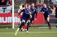 Luton Town's George Moncur celebrates scoring his sides first goal <br /> <br /> Photographer Mick Walker/CameraSport<br /> <br /> The EFL Sky Bet League One - Fleetwood Town v Luton Town - Saturday 16th February 2019 - Highbury Stadium - Fleetwood<br /> <br /> World Copyright © 2019 CameraSport. All rights reserved. 43 Linden Ave. Countesthorpe. Leicester. England. LE8 5PG - Tel: +44 (0) 116 277 4147 - admin@camerasport.com - www.camerasport.com