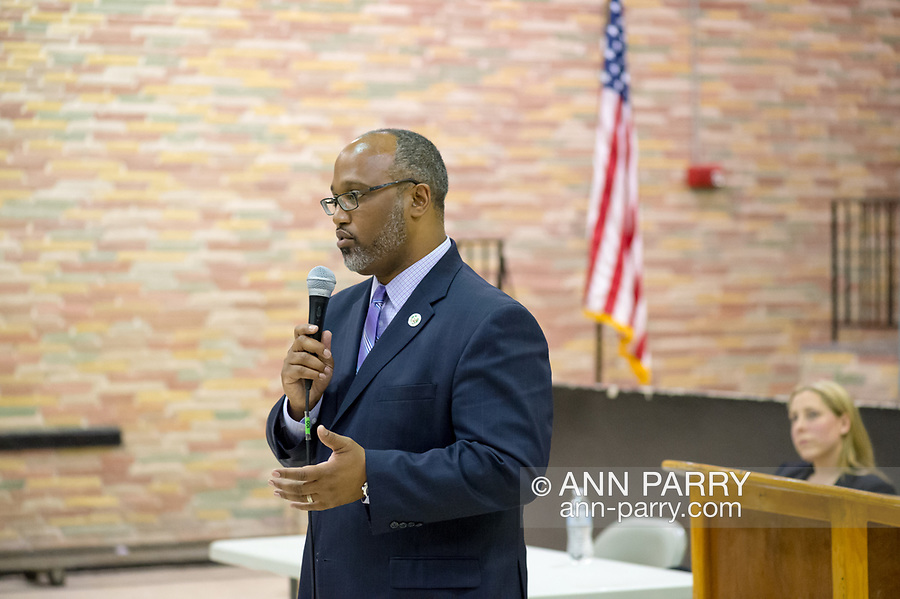 Levittown, NY, USA. June 4, 2018. Candidate Suffolk County Legislator DuWayne Gregory speaks during Congressional District 2 Democratic primary debate with Liuba Grechen Shirley held by Seaford Wantagh Democratic Club at Levittown Hall.