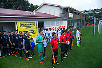 The teams prepare to walk out for the 2019 OFC Champions League quarter final football match between Team Wellington and Henderson Eels at David Farrington Park in Wellington on Sunday, 7 April 2019. Photo: Dave Lintott / lintottphoto.co.nz