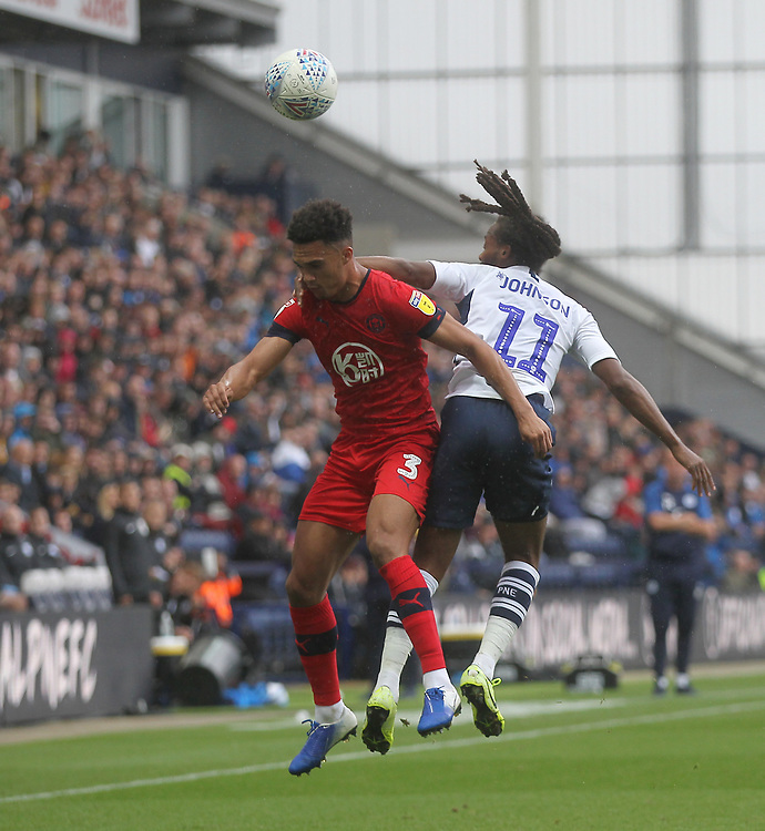 Preston North End's Daniel Johnson jumps with Wigan Athletic's Antonee Robinson <br /> <br /> Photographer Mick Walker/CameraSport<br /> <br /> The EFL Sky Bet Championship - Preston North End v Wigan Athletic - Saturday 10th August 2019 - Deepdale Stadium - Preston<br /> <br /> World Copyright © 2019 CameraSport. All rights reserved. 43 Linden Ave. Countesthorpe. Leicester. England. LE8 5PG - Tel: +44 (0) 116 277 4147 - admin@camerasport.com - www.camerasport.com