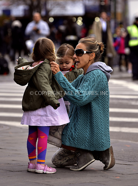 WWW.ACEPIXS.COM....April 15 2013, New York City....Actress Sarah Jessica Parker takes twins Tabitha and Marion to school on April 15 2013 in New York City....By Line: Curtis Means/ACE Pictures......ACE Pictures, Inc...tel: 646 769 0430..Email: info@acepixs.com..www.acepixs.com
