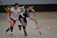 Thailand&rsquo;s Thanaporn Tongkham and Japan&rsquo;s Eriko Chiba in action during the World Floorball Championships 2017 Qualification for Asia Oceania Region - Japan v Thailand at ASB Sports Centre , Wellington, New Zealand on Saturday 4 February 2017.<br /> Photo by Masanori Udagawa<br /> www.photowellington.photoshelter.com.