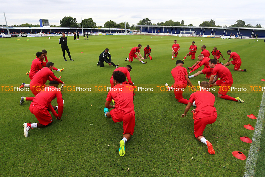 Orient players warm up during Billericay Town vs Leyton Orient, Friendly Match Football at the AGP Arena on 29th July 2017
