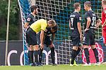 20.07.2019, Heinz Detmar Stadion, Lohne, Interwetten Cup 1. FC Köln vs SV Werder Bremen<br /> <br /> im Bild / picture shows <br /> <br /> Jiri Pavlenka (Werder Bremen #01)^<br /> trifft Theodor Gebre Selassie (Werder Bremen #23) am KOpf <br /> Niklas Moisander (Werder Bremen #18)<br /> <br /> Foto © nordphoto / Kokenge