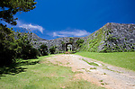 Photo shows the main gate at Zakimi Castle ruins in Yomitan VILLAGE, Okinawa Prefecture, Japan, on May 20, 2012. Built between 1416 and 1422 by the renowned Ryukyuan militarist Gosamaru, Zakimi Castle oversaw the northern portion of the Okinawan mainland. Photographer: Robert Gilhooly