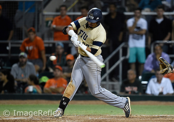 29 May 2015: Florida International University infielder Edwin Rios (28) at bat against the University of Miami at Alex Rodriguez Park at Mark Light Field, Coral Gables, Florida, in Miami's 6-2 victory, in the first round of the NCAA Coral Gables Regional.