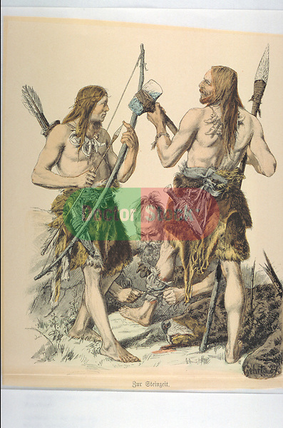 Stone age hunters with weapons having injury bandaged