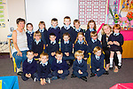 Currow NS junior infants with their teacher Ms Breda McGaley and Tina Curran SNA on their first day of school on Tuesday (no name policy)