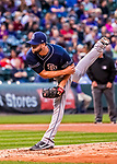 16 September 2017: San Diego Padres starting pitcher Jordan Lyles on the mound against the Colorado Rockies at Coors Field in Denver, Colorado. The Rockies shut out the Padres 16-0 in the second game of their 3-game divisional series. Mandatory Credit: Ed Wolfstein Photo *** RAW (NEF) Image File Available ***