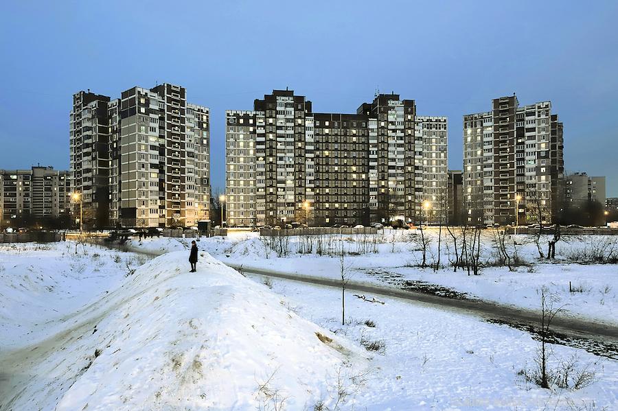 Ukraine, Kiev, East Europe, Prefabricated concrete slabs, Troeshina, Satellite city