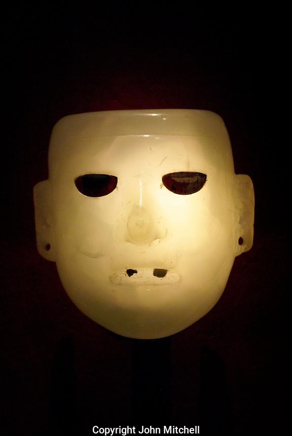 Aztec alabaster mask, Museo del Templo Mayor, Mexico City.