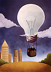 Illustrative image of businessman in light bulb shaped hot air balloon representing idea