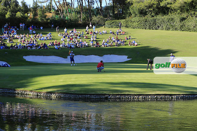 Joost Luiten (NED) and Robert Rock (ENG) on the 17th green during Saturday's Round 3 of the 2017 Valderrama Masters hosted be Fundacion Sergio Garcia, held at Real Club Valderrama, Sotogrande, Andalucia, Spain. 21st October 2017.<br /> Picture: Eoin Clarke | Golffile<br /> <br /> <br /> All photos usage must carry mandatory copyright credit (&copy; Golffile | Eoin Clarke)