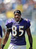Sep. 20, 2009; San Diego, CA, USA; Baltimore Ravens wide receiver (85) Derrick Mason against the San Diego Chargers at Qualcomm Stadium in San Diego. Baltimore defeated San Diego 31-26. Mandatory Credit: Mark J. Rebilas-