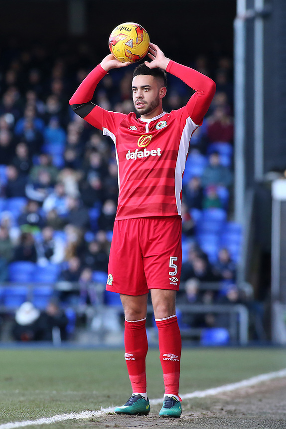Blackburn Rovers' Derrick Williams takes a throw in<br /> <br /> Photographer David Shipman/CameraSport<br /> <br /> The EFL Sky Bet Championship - Ipswich Town v Blackburn Rovers - Saturday 14th January 2017 - Portman Road - Ipswich<br /> <br /> World Copyright &copy; 2017 CameraSport. All rights reserved. 43 Linden Ave. Countesthorpe. Leicester. England. LE8 5PG - Tel: +44 (0) 116 277 4147 - admin@camerasport.com - www.camerasport.com