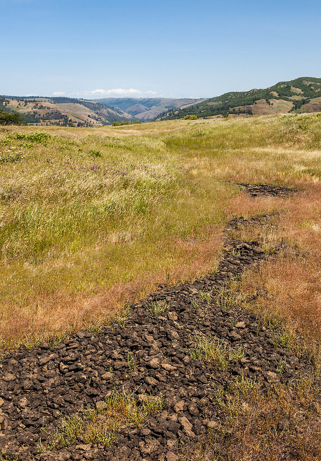 An old rocky trail winds back into the prairie along the Columbia River Gorge in Oregon.