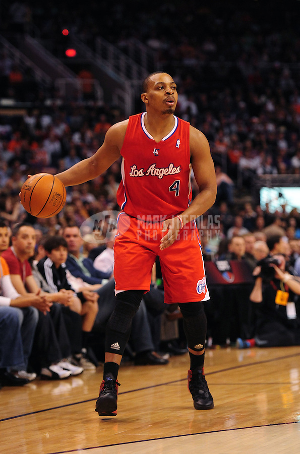Mar. 2, 2012; Phoenix, AZ, USA; Los Angeles Clippers guard Randy Foye controls the ball during game against the Phoenix Suns at the US Airways Center. The Suns defeated the Clippers 81-78. Mandatory Credit: Mark J. Rebilas-USA TODAY Sports