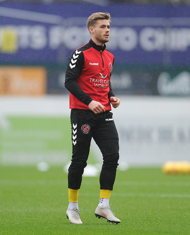 Fleetwood Town's Conor McAleny during the pre-match warm-up <br /> <br /> Photographer Kevin Barnes/CameraSport<br /> <br /> The EFL Sky Bet League One - Plymouth Argyle v Fleetwood Town - Saturday 24th November 2018 - Home Park - Plymouth<br /> <br /> World Copyright © 2018 CameraSport. All rights reserved. 43 Linden Ave. Countesthorpe. Leicester. England. LE8 5PG - Tel: +44 (0) 116 277 4147 - admin@camerasport.com - www.camerasport.com