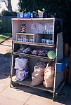 A793N2 Vegetable produce and eggs on sale by garden gate of country home Butley Suffolk England