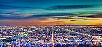 Los Angeles CA, Cityscape, Skyline, Night, Dusk, lit, lights on, beautiful