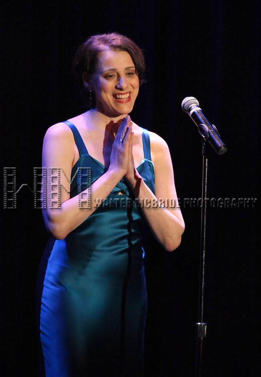 Judy Kuhn performing at the Vineyard Theatre's 30th Anniversary Gala Celebration Cocktail Reception at the Edison Ballroom in New York City on 3/18/2013