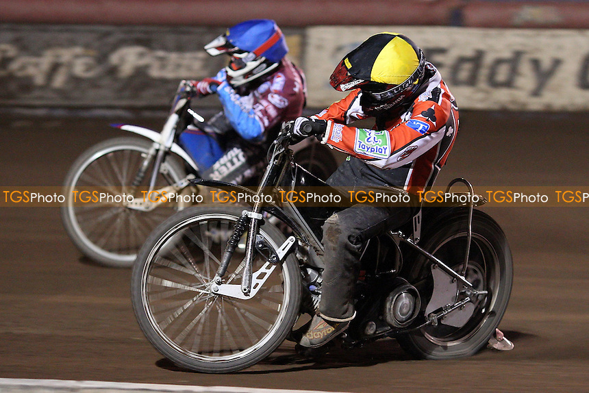 Heat 14: Paul Hurry (blue) and William Lawson (yellow) - Lakeside Hammers vs Belle Vue Aces, Elite League Speedway at the Arena Essex Raceway, Purfleet - 30/04/10 - MANDATORY CREDIT: Rob Newell/TGSPHOTO - Self billing applies where appropriate - 0845 094 6026 - contact@tgsphoto.co.uk - NO UNPAID USE.