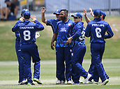 6th December 2017, Eden Park, Auckland, New Zealand; Ford Trophy One Day Cricket, Auckland Aces versus Canterbury Wizards;  Auckland players celebrates the wicket of Canterbury's Michael Pollard