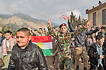 21/03/15 -- Akre, Iraq -- People celebrates Newroz. The celebration starts with people coming to Sare Gree where they wait for a few hours before climbing on top of the mountain.