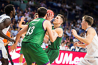 Real Madrid's player Othello Hunter and Luka Doncic and Unicaja Malaga's player Carlos Suarez and Nemanja Nedovic during match of Liga Endesa at Barclaycard Center in Madrid. September 30, Spain. 2016. (ALTERPHOTOS/BorjaB.Hojas) /NORTEPHOTO.COM