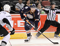 Oklahoma City Barons' Curtis Hamilton (13) looks to pass during the first period of an AHL hockey game against the San Antonio Rampage, Sunday, Nov. 4, 2012, in San Antonio. (Darren Abate/pressphotointl.com)