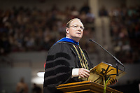 MSU Spring Graduation at Humphrey Coliseum - President Keenum.<br />  (photo by Megan Bean / &copy; Mississippi State University)