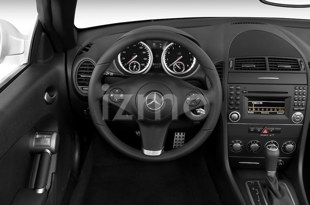 Steering wheel view of a 2009 Mercedes SLK Class 350