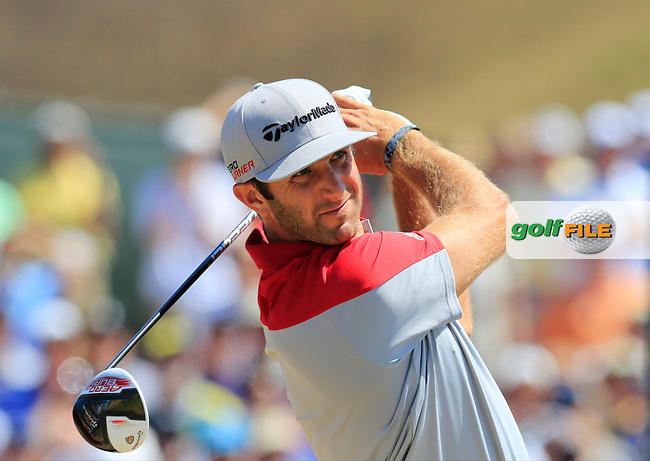 Dustin JOHNSON (USA) tees off the 1st tee to start his match during Saturday's Round 3 of the 2015 U.S. Open 115th National Championship held at Chambers Bay, Seattle, Washington, USA. 6/20/2015.<br /> Picture: Golffile | Eoin Clarke<br /> <br /> <br /> <br /> <br /> All photo usage must carry mandatory copyright credit (&copy; Golffile | Eoin Clarke)