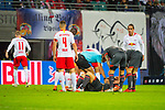 07.10.2018, Red Bull Arena, Leipzig, GER, 1. FBL 2018/2019, RB Leipzig vs. 1. FC N&uuml;rnberg/Nuernberg,<br /> <br /> DFL REGULATIONS PROHIBIT ANY USE OF PHOTOGRAPHS AS IMAGE SEQUENCES AND/OR QUASI-VIDEO.<br /> <br /> im Bild<br /> <br /> <br /> Verletzung von Eduard Loewen (#17, 1. FC Nuernberg), <br /> <br /> Foto &copy; nordphoto / Dostmann
