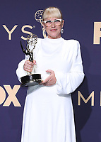 LOS ANGELES - SEPTEMBER 22:   Patricia Arquette with the award for Outstanding Supporting Actress in a Limited Series or Movie at the 71st Primetime Emmy Awards at the Microsoft Theatre on September 22, 2019 in Los Angeles, California. (Photo by Xavier Collin/Fox/PictureGroup)