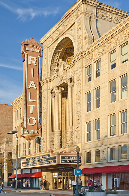 The Rialto Theater is a prominent landmark in downtown Joliet, Illinois