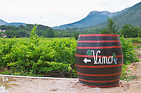 Big barrel standing in the vineyard with writing painted in white saying Vino, grape bunch and arrow, mountains in background Matusko Winery. Potmje village, Dingac wine region, Peljesac peninsula. Matusko Winery. Dingac village and region. Peljesac peninsula. Dalmatian Coast, Croatia, Europe.
