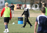 Head coach Jim Gabarra during Washington Freedom  practice and media event at the Maryland Soccerplex on March 25 in Boyd's, Maryland.