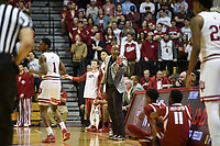 NWA Democrat-Gazette/CHARLIE KAIJO Arkansas Razorbacks head coach Mike Anderson gestures to his players during the first half of the NCAA National Invitation Tournament, Saturday, March 23, 2019 at the Simon Skjodt Assembly Hall at the University of Indiana in Bloomington, Ind. The Arkansas Razorbacks fell to the Indiana Hoosiers 63-60.