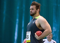 Aled Davies competes in the shot put event at the Wales Athletics Indoor International at the Cardiff Metropolitan University, Wales, Britain - 08 March 2015