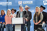 PATRICK GOTTSCH, founder of Rural Media Group, and his daughters at the press conference before the Iron Cowboy V event at the AT & T stadium in Arlington, Texas.