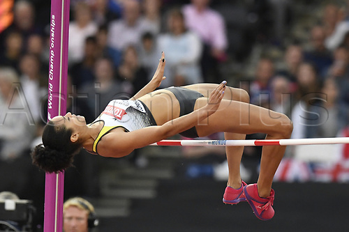 August 12th 2017, London Stadium, East London, England; IAAF World Championships, Day 9;  German athlete Marie-Laurence Jungfleisch in action during the High Jump event at the IAAF World Championships in London, UK, 12August 2017.