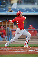 Palm Beach Cardinals third baseman Evan Mendoza (4) follows through on a swing during a game against the Charlotte Stone Crabs on April 21, 2018 at Charlotte Sports Park in Port Charlotte, Florida.  Charlotte defeated Palm Beach 5-2.  (Mike Janes/Four Seam Images)