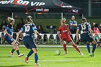 Kansas City, Mo. - Saturday April 23, 2016:Portland Thorns FC forward Nadia Nadim (9) during a match against FC Kansas City at Swope Soccer Village. The match ended in a 1-1 draw.