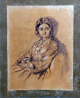 BNPS.co.uk (01202 558833)<br /> Pic: HumbertEllis/BNPS<br /> <br /> Sold for £4,300 - Enigmatic smile of a young Florence Nightingale.<br /> <br /> A lost portrait drawing of a young Florence Nightingale was discovered in a dusty attic of a country house 170 years after it was produced.<br /> <br /> The never-before-seen work depicts the British nursing heroine as a young woman in a Victorian dress and bearing an enigmatic smile.<br /> <br /> The dust-covered drawing was found among a pile of art work propped up against a landing wall in the attic space of Claydon House in Buckinghamshire.<br /> <br /> The grand stately home belongs to the National Trust but is also the ancestral home of the Verney family whose descendants still live in one of its wings today.