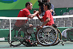 (L-R)<br /> Gerard Joachim (BEL),<br /> Shingo Kunieda (JPN),<br /> SEPTEMBER 13, 2016 - Wheelchair Tennis : <br /> Men's Singles Quater-Final<br /> at Olympic Tennis Centre<br /> during the Rio 2016 Paralympic Games in Rio de Janeiro, Brazil.<br /> (Photo by Shingo Ito/AFLO)