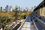 LONGCHAMP, FRANCE - October 06, 2018: View at the renovated Grandstand of the Longchamp race track, now officially called ParisLongchamp, which reopened in April 2018. La Defense area in the background