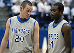 January 20, 2010:  Air Force players, Tom Fow (20) and Michael Lyons (14) during the Falcon's  Mountain West Conference match-up with New Mexico at Clune Arena, U.S. Air Force Academy, Colorado Springs, Colorado.  New Mexico defeats Air Force 73-50.